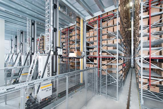 带有 igus® guidelok 导槽的 DEMATIC 储存与提取系统